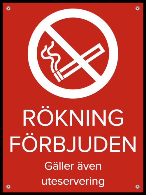 rokning forbjudet skyltar som Plastskylt