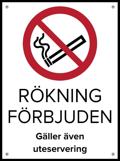 rokning forbjudet skyltar som Aluminiumskylt